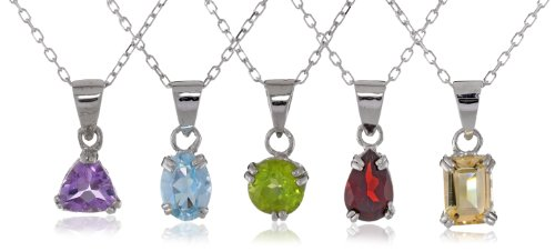 Sterling Silver Necklace Set with Five Pendant Gemstones