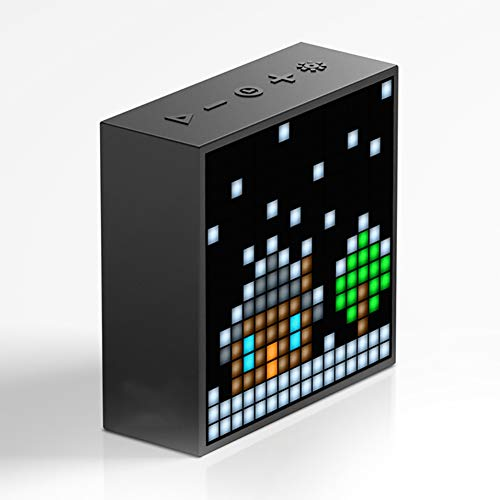 Timebox Portable Bluetooth Pixel Art Speaker with 1616 Mobile App Programmable LED Image Time Display Bedside Clock and Alarm Clock (Black)