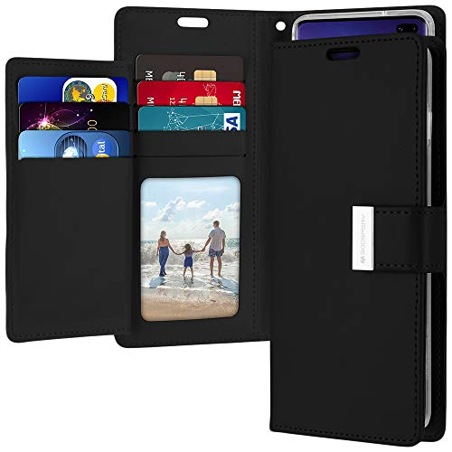 (Galaxy S10 Plus Wallet Case, Goospery Rich Diary [Extra Card Slots] PU Leather Flip Cover (Black) S10P-RIC-BLK)