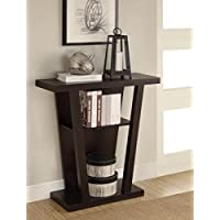 Angled Contemporary Hall Console Accent Table (Cappuccino)