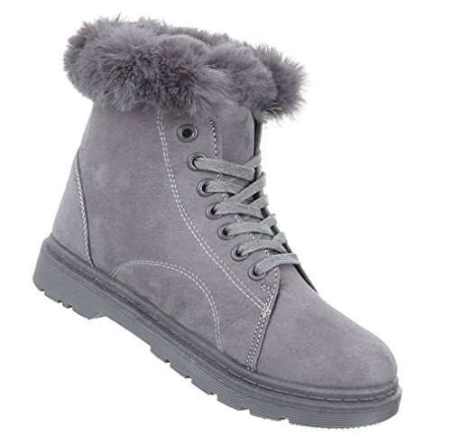 Damen Winter Stiefeletten | Winterstiefel gefüttert | gefütterte Schneestiefel | Kunst Fell Winter Boots | Outdoor Kunst Fell Stiefel | Worker Winterstiefel | warme Stiefel | Kunst Fell Combat Boots Hellgrau