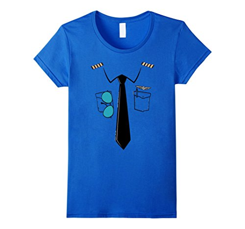 Womens Halloween Pilot Costume T-Shirt Medium Royal Blue