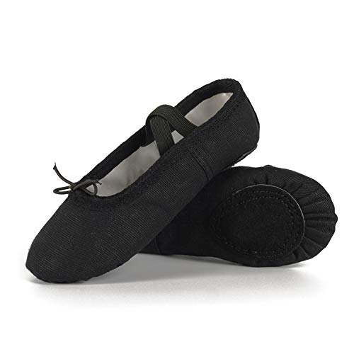 Ruqiji Ballet Shoes for Girls/Toddlers/Kids, Black Canvas Ballet Shoes/Pink Ballet Slippers/Dance Shoes -
