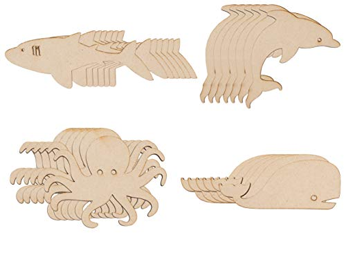 Unfinished Wood Cutout - 24-Pack Wooden Octopus Shark Whale Dolphin, Wood Piece, for Wooden Craft DIY Project, Art Class, Ocean Sea Themed Party, Baby Shower, Home Decoration, Assorted Sizes