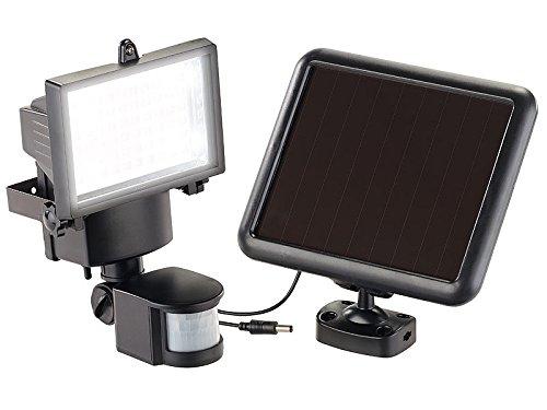 Luminea Wandfluter Aussen: Solar-LED-Wand-Fluter für außen, mit Bewegungssensor, 600 Lumen, IP44 (Solarlampe mit Bewegungsmelder)