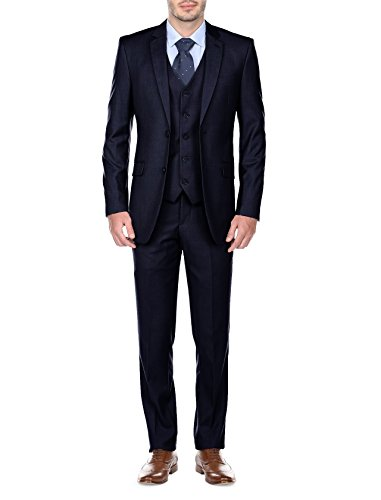 Fino Uomo Mens Slim Fit 3 Piece Suit, Dark Blue, Size (Dark Suite)