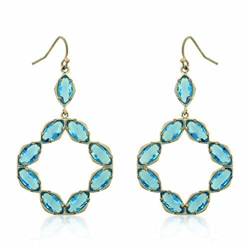 14k Matte Gold Plated Blue Crystal Drop Earrings