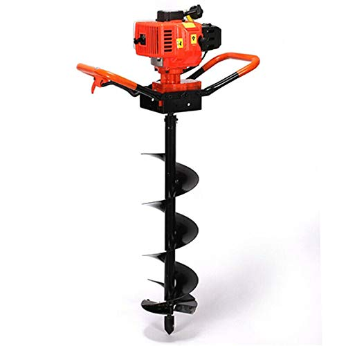 New 72cc 3KW Petrol Gas Powered Earth Auger Post Hole Digger Borer Ground Drill 3 Bits, 2 Stroke Post Hole Digger Earth Auger, Professional Hole Digger, Industry-Standard 20mm Auger Mount