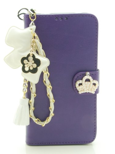 ZZYBIA® S5 PD w Purple Leatherette Stand Case Card Holder Wallet with a White Dog Fringed Dust Plug Charm for Samsung Galaxy S5 I9600