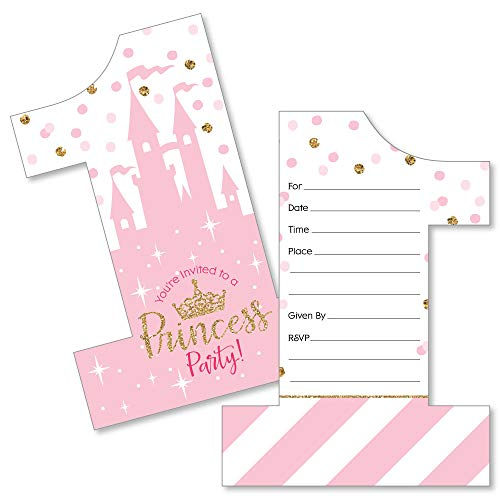 1st Birthday Little Princess Crown - Shaped Fill-in Invitations - Pink and Gold Princess First Birthday Party Invitation Cards with Envelopes - Set of 12