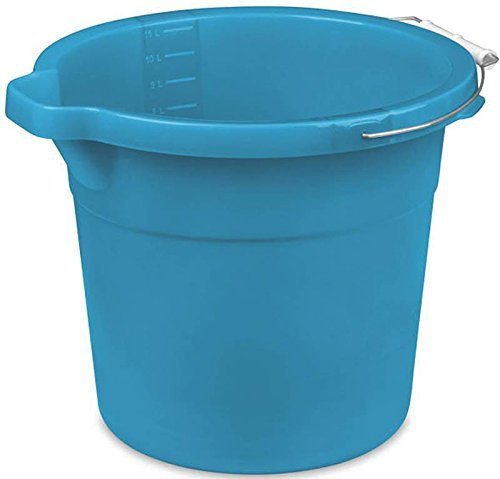 (Heavy Duty Plastic Utility Pail with Pour Spout, Versitle 12 Quart Bucket in Blue with Steel Handle)