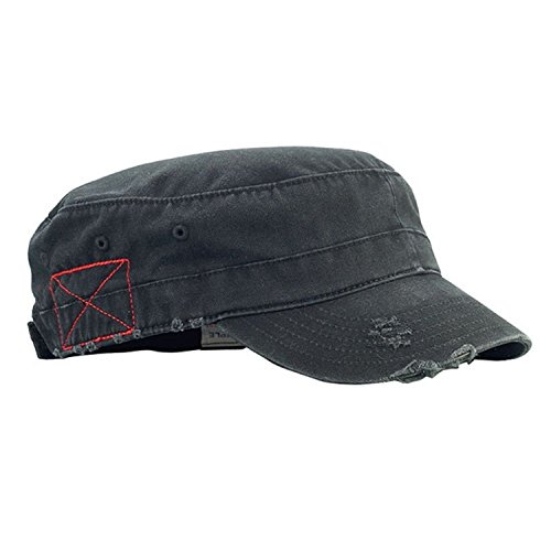 MG Distressed Washed Cotton Cadet Army Cap (Black)
