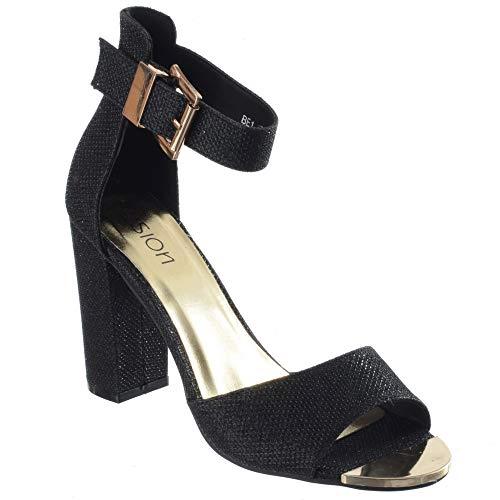 Ouvert Taille Bloc Image Soirée Cheville Chaussures Femmes Miss Talon De Bout Noir Paillette Maille Uk Lanière Sandales Sangle qFnxw6