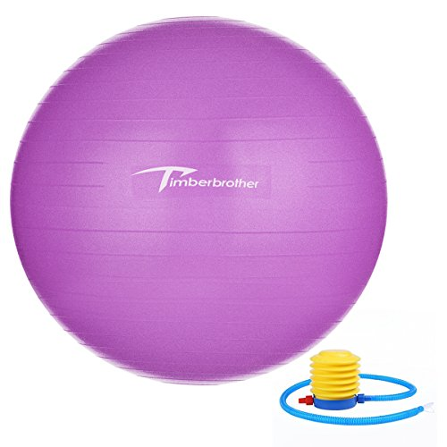 Timberbrother Anti-Burst Exercise Stability Ball / Fitness Ball / Balance Ball with Foot Pump - 55cm / 65cm / 75cm (Violet, 75cm)