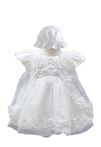 BabyPreg Baby Girls Christening Baptism Gown Birthday Party Dress (12M / 9-12 Months, White)