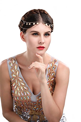 Chicer Double Layered Headpiece with Sequins Headband Tassel Head Chain for Women and Girls FHW-001 (Gold). (Chain Headpiece Gold)