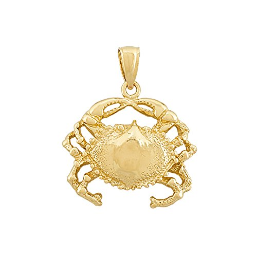 14k Yellow Gold Nautical Charm Pendant, Crab, High Polish & - Gold Crab 14k Nautical Charm