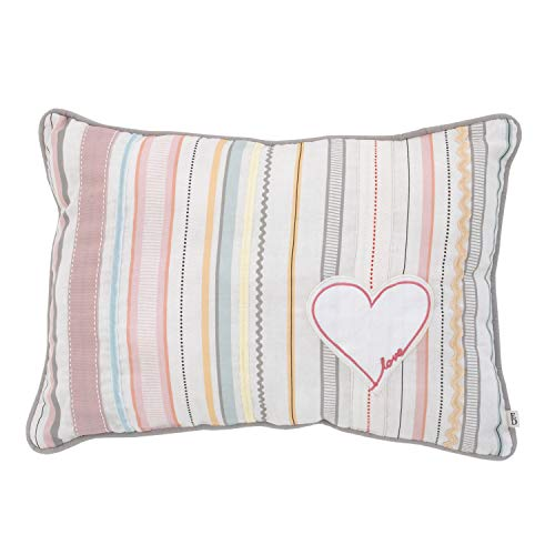 ED Ellen DeGeneres Cotton Tail - Soft 100% Cotton Multi Color Ribbon Stripe with Heart Applique Decorative Pillow, Rose, Ivory, Aqua, - Pillow Ribbon Stripe