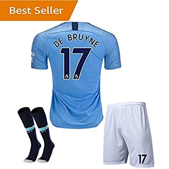 online store a3cbb 54b55 2018-2019 Manchester City #17 DE BRUYNE Home Kids Youth Blue Soccer Jersey  & Shorts & Socks