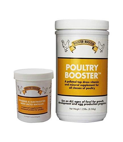 Rooster Booster Vitamins and Electrolytes-with Lactobacillus and Poultry Booster 1.25-Pound 1 of Each 2 Total - Booster Pack Each