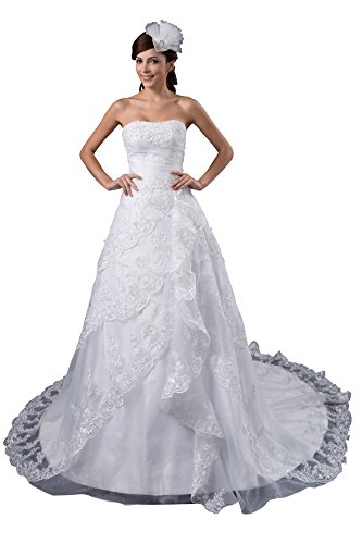 VogueZone009 Womens Strapless Pongee Satin Wedding Dress with Floral, ColorCards, 16 by VogueZone009