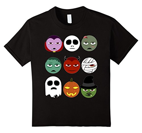 Kids Halloween emoji shirt 6 Black (Halloween Tshirts For Kids)