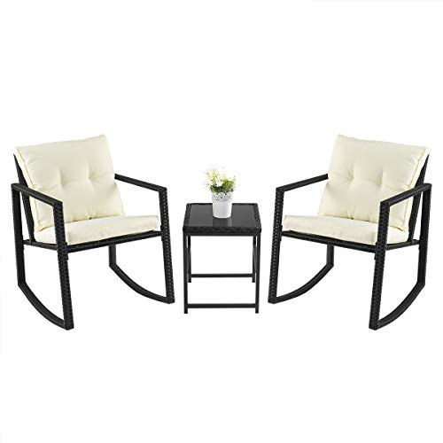 PAMAPIC Outdoor 3 Piece Porch Furniture Rocking Bistro Set, Wicker Black Patio Furniture Sets -Two Chairs with Glass Coffee Table (Furniture Porch Used)