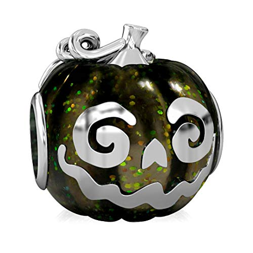 Authentic BELLA FASCINI Halloween Jack O Lantern Pumpkin Bead Charm - Sterling Silver - Fits Bracelets]()