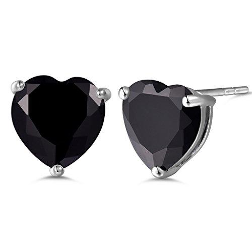 GULICX Silver Tone Black Cubic Zirconia Crystal Heart lovely glitter stud Earring Black Heart Earrings