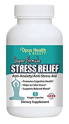 Opus Health Stress Relief Anti-Anxiety & Anti-Stress Aid Reduction Supplement - Vitamin B1, B2, B5, B6, Magnesium 60 Veggie Capsules