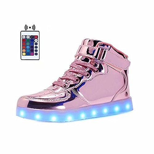 WONZOM FASHION High Top Velcro LED Light Up Shoes 7 Colors USB Flashing Rechargeable Walking Sneakers For Kids Boots With Remote Control(Toddler/Little Kids/Big Kids)-34(Shining Pink) by WONZOM FASHION (Image #8)