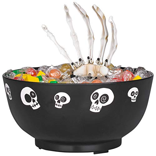 Home Depot Animated Skeleton Candy Bowl - Batteries Included - Moves and Says 7 Different Sayings! - Bowl Color Vary Between Purple or Orange