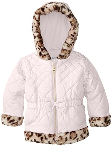 Pistachio Little Girls' Quilted Puffer Coat with Leopard Trim