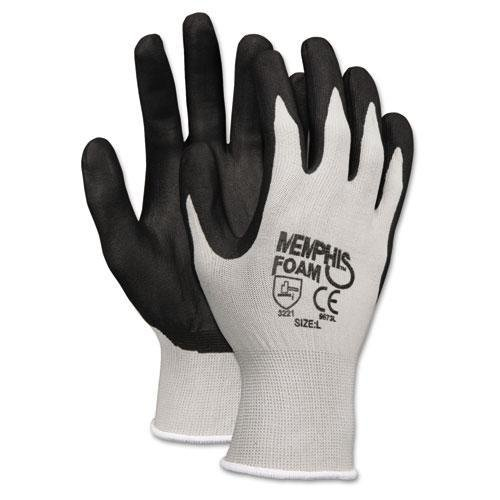 Memphis Glove 9673L Foam Nitrile Gloves, Large, Black/Gray (Pack of 12)