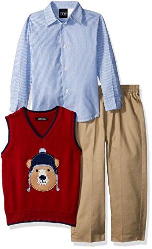 TFW Dresswear Boys' Little Sweater Vest Set, red Bear, 6