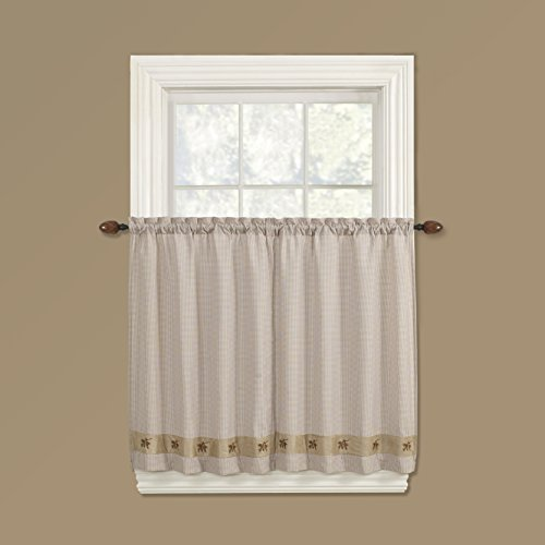 Embroidered Mini-Plaid Pair of Tiers - Plaid Tier Curtains for Rustic Kitchen, Cabin Bathroom, and Country Bedroom - Small Check Plaid with Pine Cone Embroidery (60