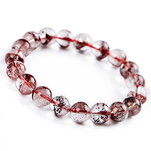 Jewelry Bracelet 10mm Natural Red Phantom Quartz Crystal Round Bead Bracelet
