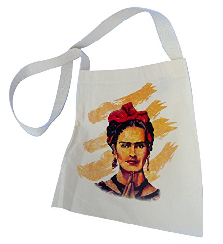 Canvas Frida Cotton Tote Market Bag Silk Screened 16 SQ inch Folk Art Mexico