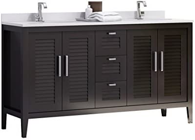 Madrid 60 Inches Double Sink Bahtroom Vanity Solid Wood Espresso Cabinet Crema Marfil Quartz Countertop And Double White Ceramic Undermount Sink Made In Spain European Brand