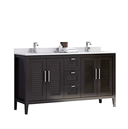 Madrid 60-inches Double Sink Bahtroom Vanity Solid Wood, Espresso, Cabinet, Crema