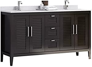 Madrid 60 Inches Double Sink Bahtroom Vanity Solid Wood Espresso Cabinet Crema Marfil Quartz Countertop And Double White Ceramic Undermount Sink Made In Spain European Brand Amazon Com