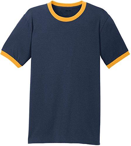 (Joe's USA tm - Soft 5.4-oz 100% Cotton Ringer T-Shirts-Navy/Gold-M)