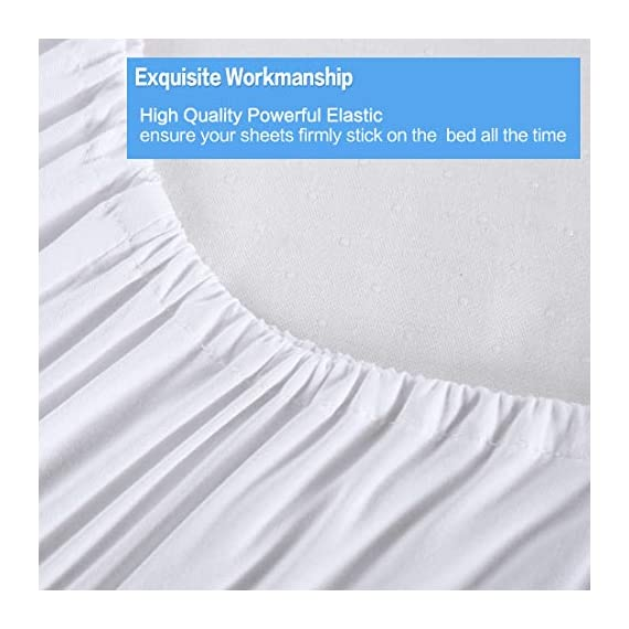 """KARRISM Queen Size 6 Piece Bed Sheets Set Extra Soft & Breathable Brushed 1800 Series Microfiber, Cooling, Wrinkle & Fade Resistant, Comfortable Deep Pocket Bedding Set, White - ►►►【NEW 1800TC MATERIALS】Designed with simple sophistication, combined with BST Brushed Microfiber, the new 1800 High Thread Count materials are even thinner than most luxurious natural fibers such as silk. This makes the bedding more softer, breathable, comfortable that keep you warm during winter and cool during summer. Light touching feeling , DEFINTLY breathable cool and exceptional strength, gives you and your family the BSBEST Sleep environment all night. ►►►【CUSTOMER CENTERED DESIGN】Compared to the normal 4-piece bed sheet set, our 6 Piece Sheet set includes 1 flat sheet 90""""x102"""", 1 fitted sheet 60""""x80"""", and 4 pillowcases 20""""x30"""". Considering that our customer may have needs on regularly cleaning old pillowcase or readying for the guest room,we added two extra pillowcases for your money SAVING. No worry of alternative pillowcase being not available again. ►►►【FITTED SHEET STYLE】Easily stretch up to 13-16inch. With Exquisite deep pocket design, stretch skirt has a thick, 130GSM full-length elastic pulls the corners snugly for a smooth fit on most mattress types, the sheet will keep neat all the time, will not change the position of mattress. - sheet-sets, bedroom-sheets-comforters, bedroom - 41LtbKsidIL. SS570  -"""