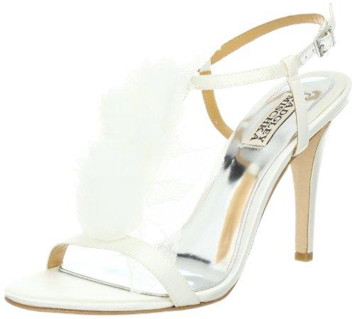 Badgley Mischka Women's Cissy T-Strap Sandal,White Satin,5.5 M US