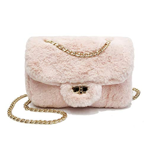 cool nik Faux Fur Leopard Purse Fuzzy Handbag Shoulder Bag for Women Chain Strap B Pink