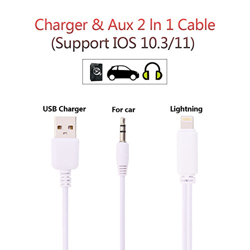 Cheap Car Chargers LONSUN Aux Cord for iPhone 7, iPhone 7 Plus Aux Adapter, USB..