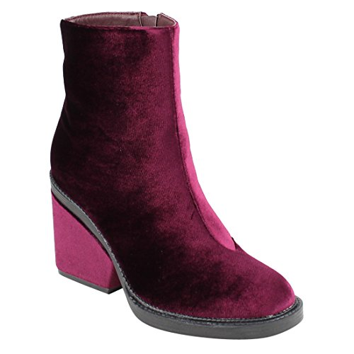Beston EJ27 Womens Elegant Inner Zipper Wrapped Chunky Heel Ankle Booties Wine UWtelnL