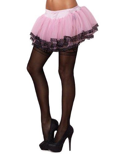 Leg Avenue Chiffon Petticoat with Lace Trim, One Size, Pink/Black Trim Leg Avenue