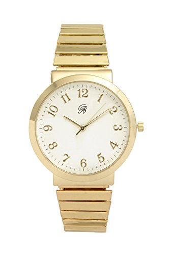 Unisex Gold Stretch Band Classic Easy Reader Watch with Clear Gold Arabic Numbers on Dial, Medium Size Face - 8197 Gold