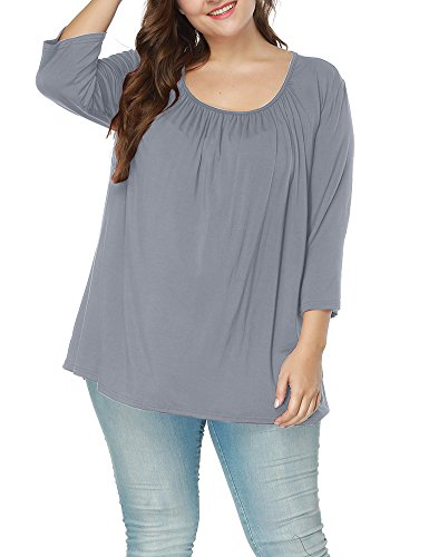 Sleeve Square Collar - Allegrace Women's Autumn Square Collar 3/4 Sleeve Ruched Blouses Loose Tee Top Gray 4X